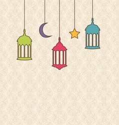 Islamic background with arabic hanging lamps for vector