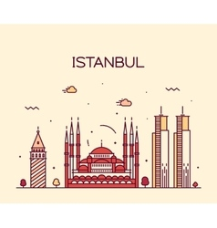 Istanbul City skyline line art vector image
