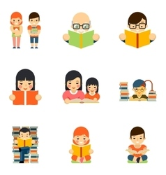 Icons set of people reading book in flat style vector