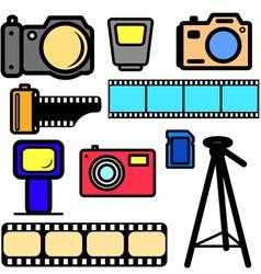 set of cameras vector image
