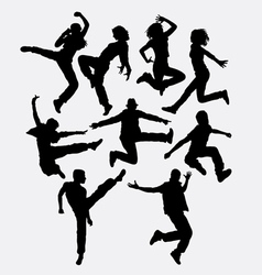 Modern dance man and women action silhouette vector