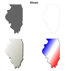 Illinois outline map set vector