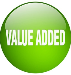 Value added green round gel isolated push button vector