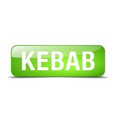 Kebab green square 3d realistic isolated web vector