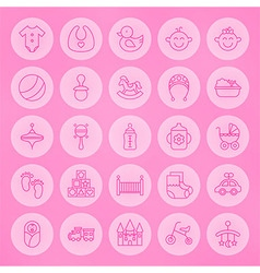 Line Circle Newborn and Baby Icons Set vector image
