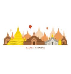 bagan myanmar architecture landmarks skyline vector image vector image