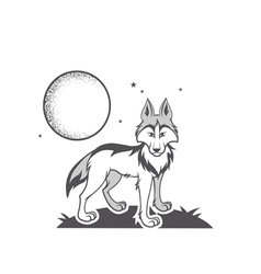 black and white wolf vector image