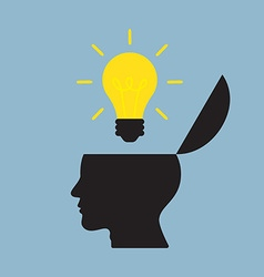 Bright light bulb on top of opened human head vector
