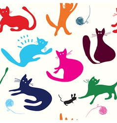 Cats playing seamless pattern funny vector image vector image