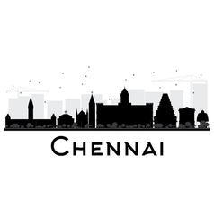 Chennai city skyline black and white silhouette vector