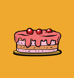 Cherry berry cake vector