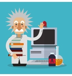 Colorful einstein and computer design vector