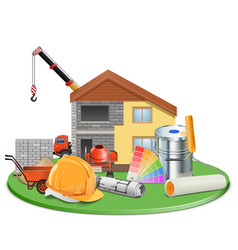 Cottage construction vector