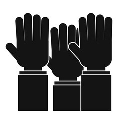 Different people hands raised up icon simple style vector