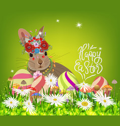 Easter eggs and rabbit spring fresh grass vector