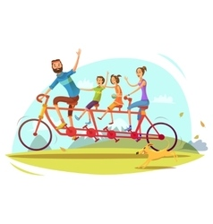 Family and bicycle cartoon vector