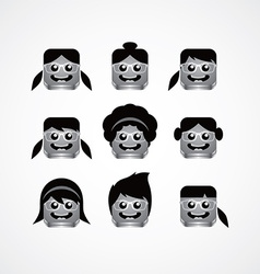 Geek girl avatar portrait set vector