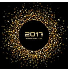 Gold confetti circle New Year 2017 background vector image