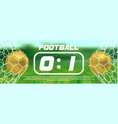 gold soccer or golden football green banner with vector image vector image