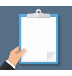 Hand with Clipboard vector image vector image