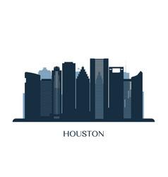 houston skyline monochrome silhouette vector image