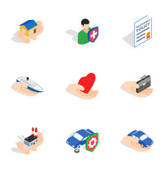 Insurance icons isometric 3d style vector