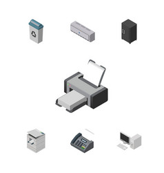 Isometric cabinet set of strongbox office phone vector