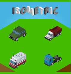 Isometric transport set of freight first-aid vector