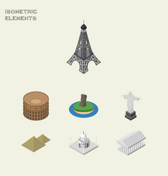 Isometric travel set of india mosque rio vector