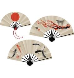 Japanese fans set vector