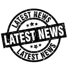 Latest news round grunge black stamp vector