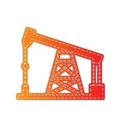 Oil drilling rig sign orange applique isolated vector
