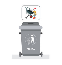Rubbish container for metal waste icon recycle vector