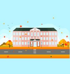 School building facade in autumn time vector
