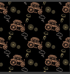 seamless pattern steampunk with old car vector image vector image