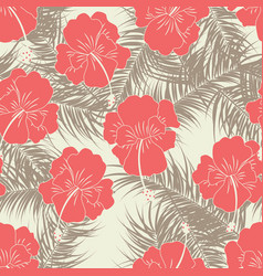 Seamless tropical pattern with brown leaves vector