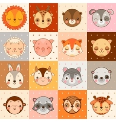 Set of 16 animal faces cow monkey and other vector