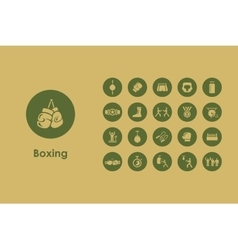 Set of boxing simple icons vector image