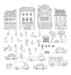 Set sketch urban street in the vector