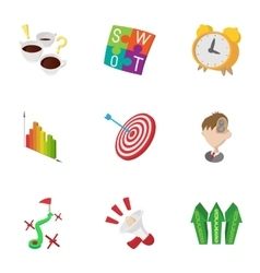 Success in business icons set cartoon style vector