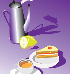 teatime with cake and lemon vector image