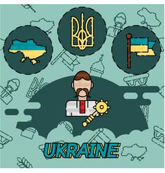 Ukraine flat concept icons vector