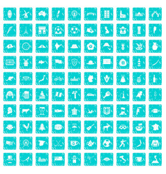 100 map icons set grunge blue vector
