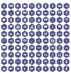 100 national flag icons hexagon purple vector