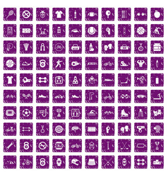 100 sport icons set grunge purple vector image vector image