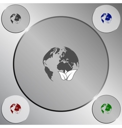 Flat paper cut style icon of eco planet vector image