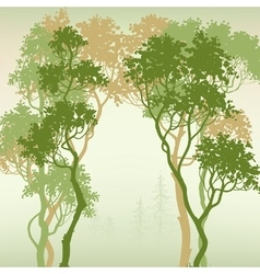 Green forest background space for text vector