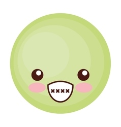 Face emoticon cute circle icon vector