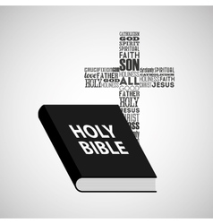 Holy bible religious cross with words vector