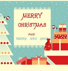 Merry christmas background with text and holiday vector